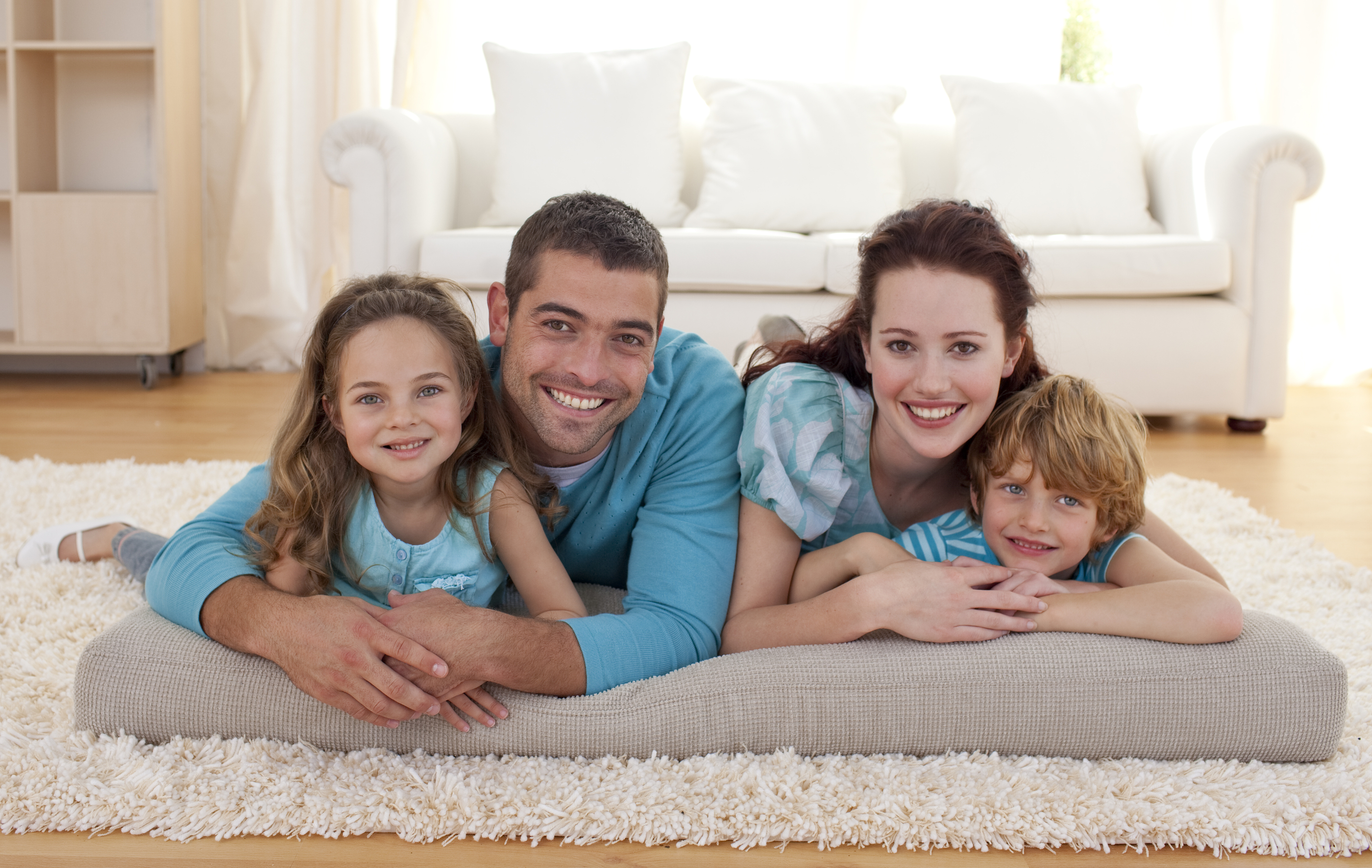 Family on Floor in Living Room